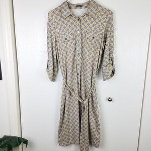 J. McLaughlin geometric pattern 3/4 sleeve dress S